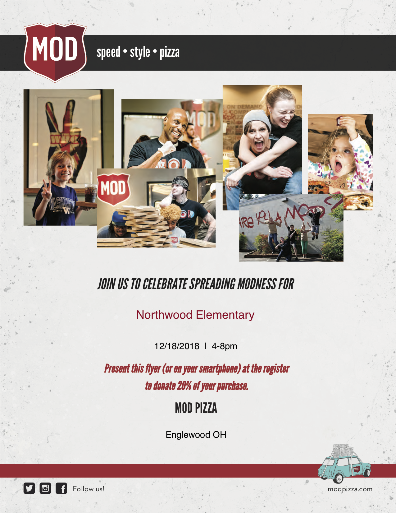 Mod Pizza Fundraiser Flyer