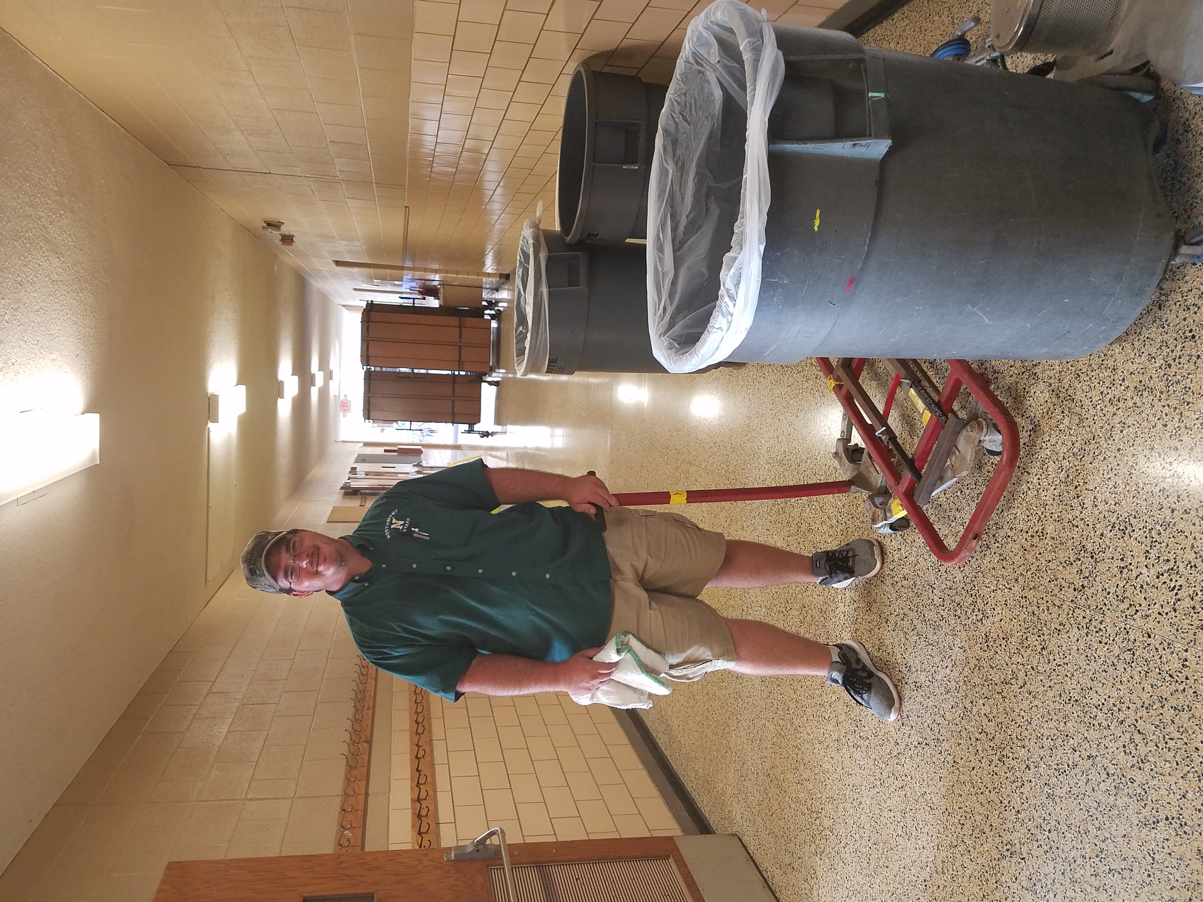Mr. Rickard getting the building ready.