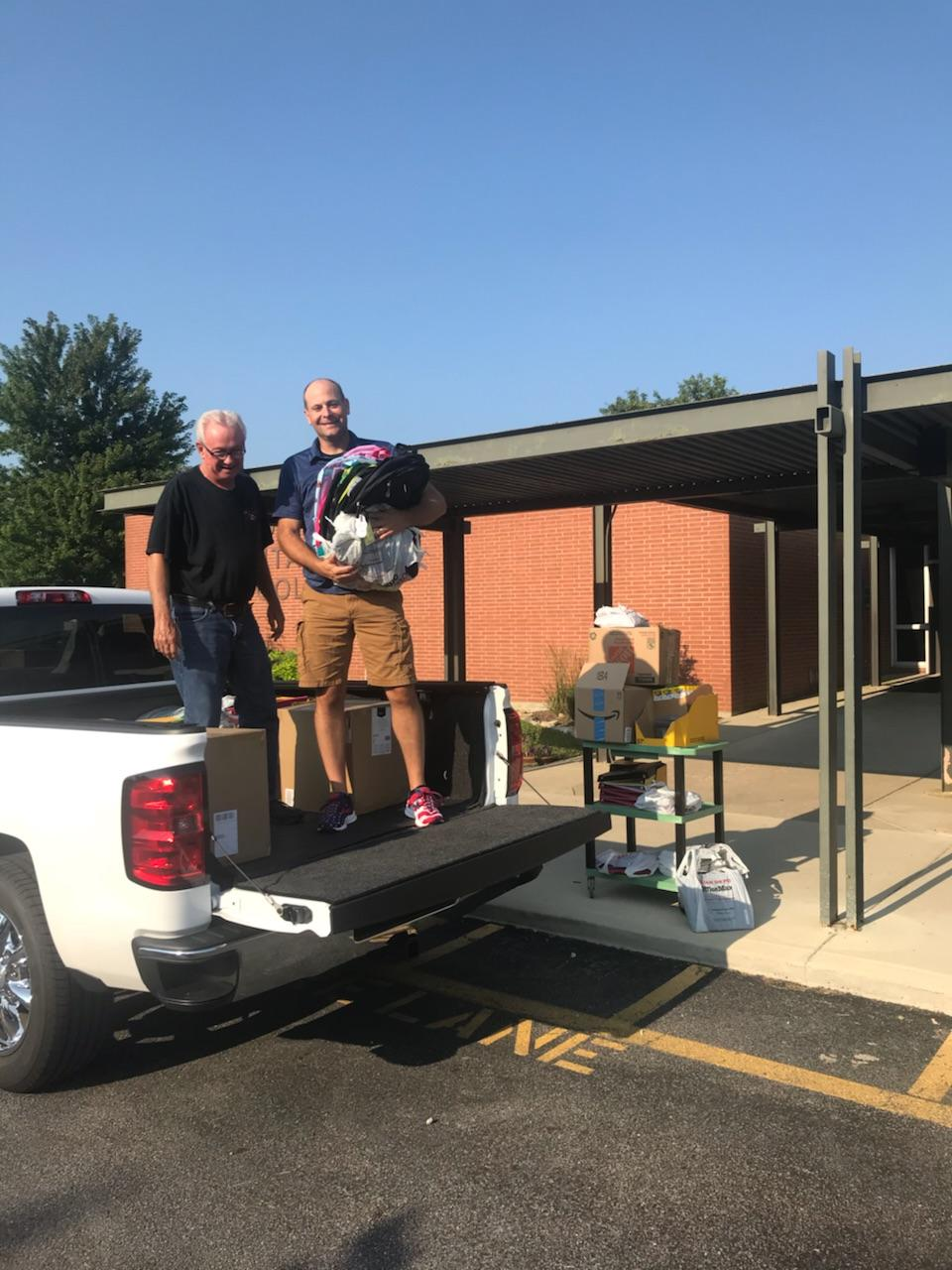 Union Tire donates school supplies.