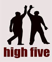 two silhouettes high five