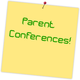 Stickie note with parent conferences